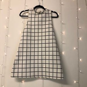 Grid Mock-Neck Dress